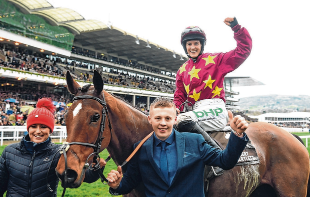 Rachael Blackmore celebrates after partnering 50/1 shot Minella Indo to victory in the Albert Bartlett Novices' Hurdle at Cheltenham. Photo: David Fitzgerald/Sportsfile