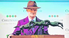 Top of the class: Willie Mullins with the Irish Independent leading trainer award at the Cheltenham Festival. Photo by Seb Daly/Sportsfile