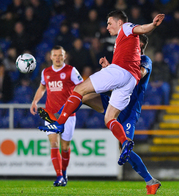Kevin Toner of St Patrick's in action against Aaron Drinan of Waterford FC. Photo: Matt Browne/Sportsfile