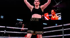 Katie Taylor celebrates after defeating Rose Volante