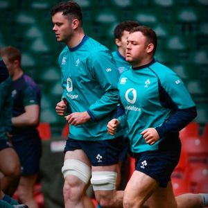 TRAIN GANG: James Ryan and Dave Kilcoyne during the captain's run at Cardiff's Principality Stadium Pic: Sportsfile