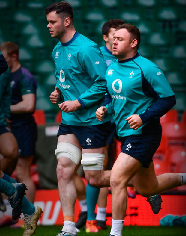 d3dbef537cb TRAIN GANG: James Ryan and Dave Kilcoyne during the captain's run at  Cardiff's Principality Stadium