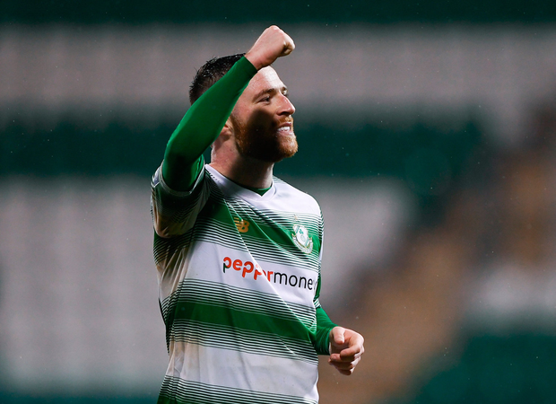 Jack Byrne of Shamrock Rovers celebrates with fans