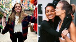 Josephine Skriver in Dublin, left, Jasmine Tookes and Josephine Skriver, right