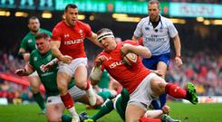 Hadleigh Parkes of Wales scores his side's first try