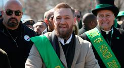 Conor McGregor joins the St Patrick's Day Parade in Chicago. Photo: Brian Lawless/PA Wire