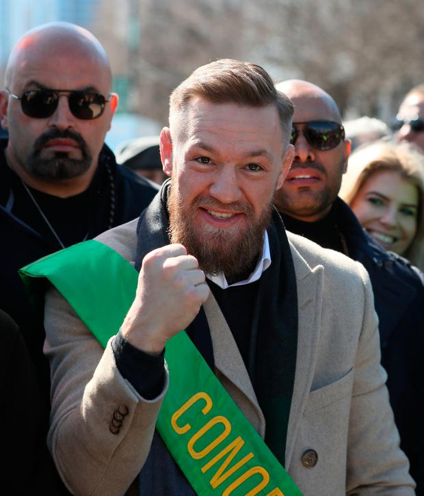 Irish mixed martial artist Conor McGregor joins the St Patrick's Day Parade in Chicago. Photo: Brian Lawless/PA Wire
