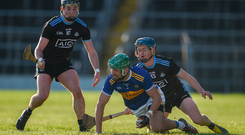 James Barry of Tipperary in action against Oisín O'Rourke of Dublin