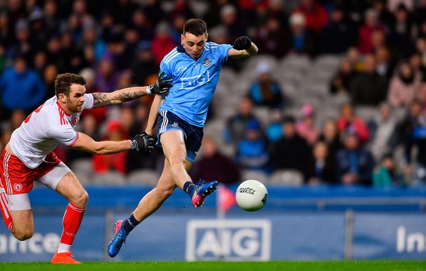 16 March 2019; Cormac Costello of Dublin scores his side's first goal as Ronan McNamee of Tyrone closes in during the Allianz Football League Division 1 Round 6 match at Croke Park in Dublin. Photo by Piaras Ó Mídheach/Sportsfile