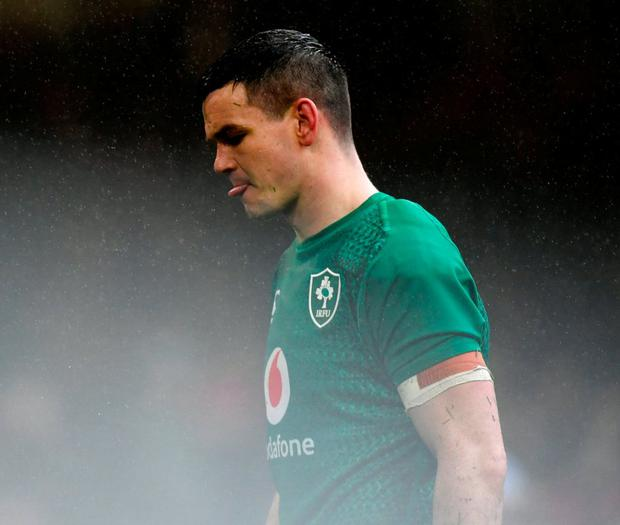 Ireland's Johnny Sexton looks dejected during their loss to Wales yesterday. Photo: Dan Mullan/Getty Images