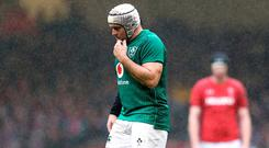 Rory Best looks dejected during the game. Photo: David Davies/PA Wire
