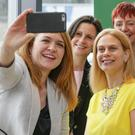 Pictured at the launch of Ireland's latest Women in Technology initiative at Central Park in Leopardstown are Avril Crowley of Sage, Olivia Leonard of Mastercard, Jo Gilfoy of Vodafone, Terri Moloney of Salesforce, Galadrielle Heinrich of Salesforce and Lisa Geoghegan of Live Work Grow