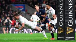 England's George Ford scores their sixth try. Photo: Mike Hewitt/Getty Images