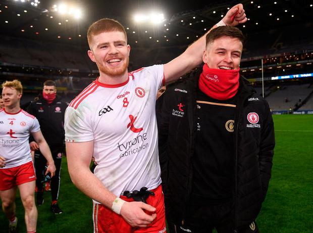 Tyrone's Cathal McShane and Michael McKernan. Photo: David Fitzgerald/Sportsfile