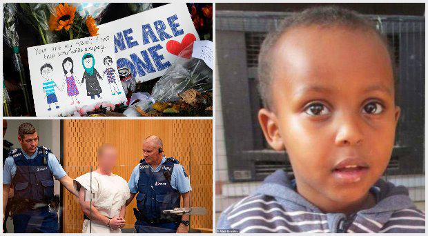 Three year old Mucad Ibrahim (right) is believed to be the youngest victim; Brenton Tarrant (bottom left) was charged with murder