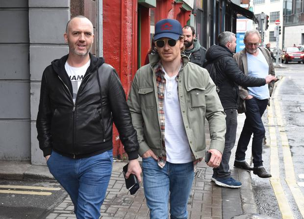 Michael Fassbender spotted with fellow Irish actor Liam Cunningham & chef Dylan McGrath on Aungier Street