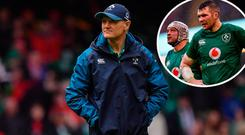 Joe Schmidt and (inset) Peter O'Mahony and Rory Best after Welsh beating