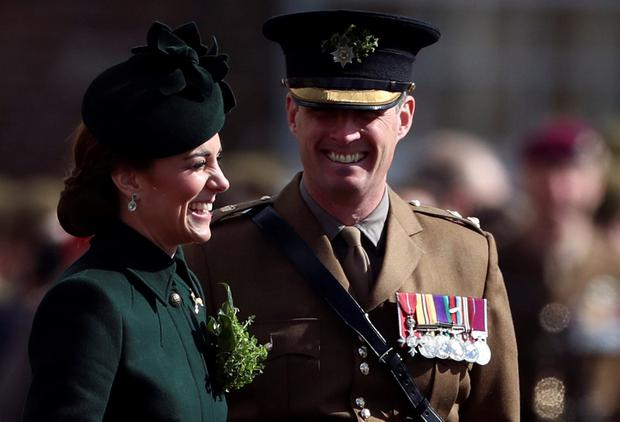 Catherine, Duchess of Cambridge smiles during the St Patrick's Day Parade in Cavalry Barracks in Hounslow, Britain March 17, 2019. REUTERS/Simon Dawson