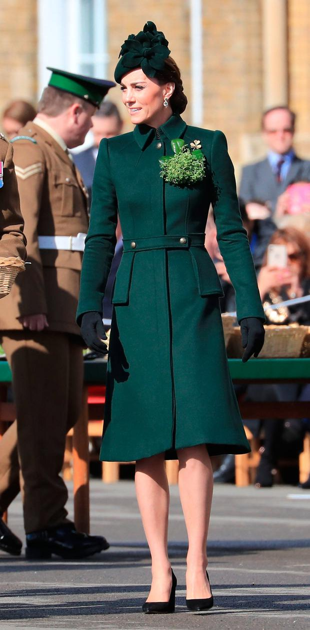 The Duchess of Cambridge attends the St Patrick's Day parade at Cavalry Barracks in Hounslow, to present shamrock to officers and guardsmen of 1st Battalion the Irish Guards