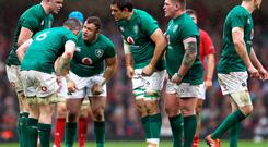 Ireland players during a huddle against Wales