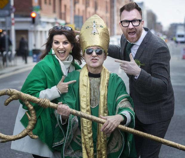 Parade Grand Marshal's Deirdre O'Kane and Jason Byrne with St Patrick, Johnny Murphy at the 2019 St Patricks Day Parade in Dublin. Photo: Tony Gavin 17/3/2019