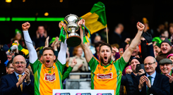 17 March 2019; Joint-captains Ciarán McGrath, left, and Micheál Lundy of Corofin lift The Andy Merrigan Cup following the AIB GAA Football All-Ireland Senior Club Championship Final match between Corofin and Dr Crokes at Croke Park in Dublin. Photo by Harry Murphy/Sportsfile