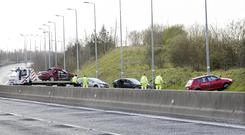 The scene of a fatal Road Traffic Accident on the M6 at Kilbeggan. Photo: Tony Gavin 17/3/2019
