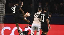 Hand ball .... PSG defender Presnel Kimpembe was penalised for handball inside the area