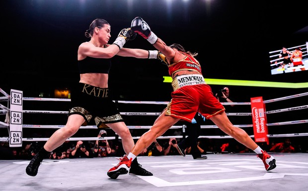 Katie Taylor in action against Rose Volante in Philadelphia. Photo by Stephen McCarthy / Sportsfile