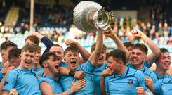 Triumph: St Michael's captain Mark Hernan lifts the trophy after victory in the Leinster Senior Cup final. Photo: Ramsey Cardy/Sportsfile