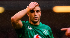 'Conor Murray scrambled to switch the play inside to Bundee Aki, vaguely reminiscent of a move we had seen against New Zealand just months before, when it seemed the team were atop a summit of lofty status.' Photo by Ramsey Cardy/Sportsfile