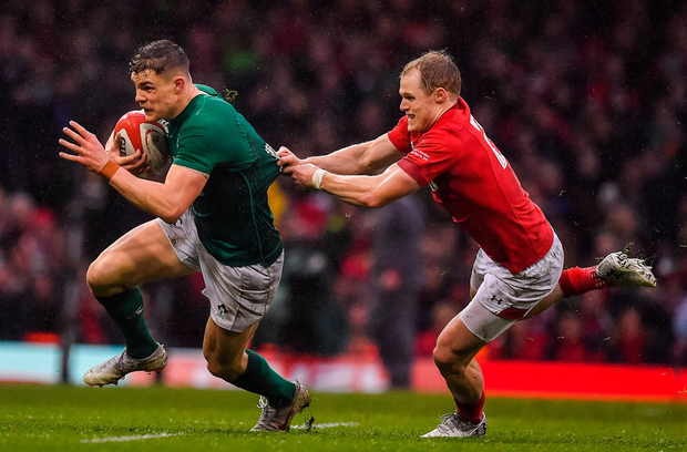 Garry Ringrose of Ireland is tackled by Aled Davies of Wales. Photo by Brendan Moran/Sportsfile