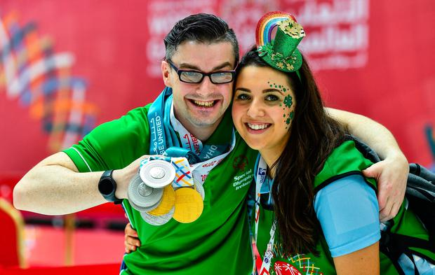 Golden moments: Volunteer Ann Marie Jennings with Patrick Quinlivan from Letterkenny, who won two golds and five silvers for artistic gymnastics. Photo: Ray McManus/Sportsfile