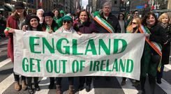 Outrage: Sinn Féin leader Mary Lou McDonald has been criticised after this picture was posted online. Photo: Sinn Féin
