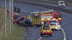 Scene: The fire service and gardaí on the M6. Photo: Paddy Cummins