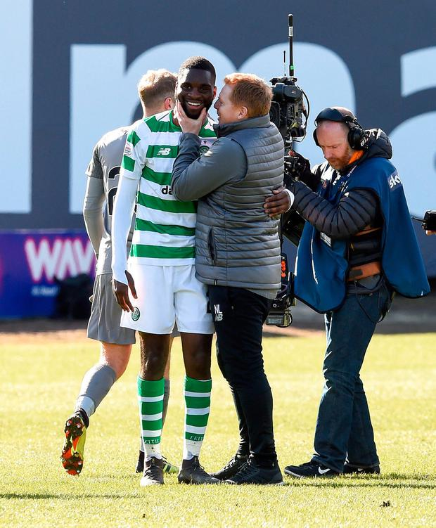 WELL DONE: Neil Lennon and Odsonne Edouard. Pic: Ian Rutherford/PA Wire