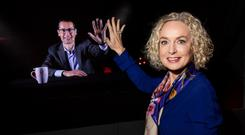 Anne O'Leary, CEO of Vodafone Ireland high-fiving Max Gasparroni, Interim Technology Director,Vodafone Ireland while on the first Irish international holographic call carried out between Ireland and Vodafone's Innovation Centre in Germany. Photo: Naoise Culhane