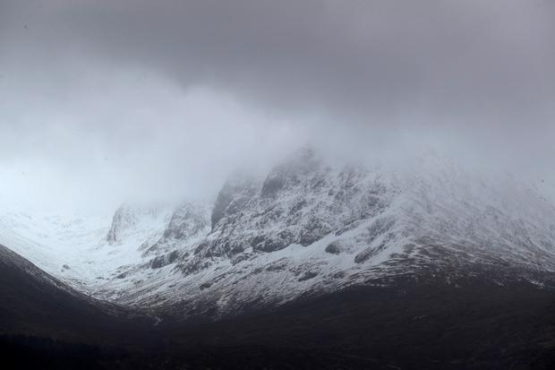A view of the North Face of Ben Nevis mountain in Scotland. A young climber is being treated for serious injuries after an avalanche on the UK's highest mountain