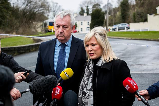 Mid-Ulster Sinn Fein councillor Sean McPeake (left) and Sinn Fein deputy leader Michelle O'Neill during a press conference outside The Greenvale Hotel Photo: Liam McBurney/PA Wire
