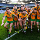 Corofin players celebrate after the AIB GAA Football All-Ireland Senior Club Championship Final match between Corofin and Dr Crokes' at Croke Park in Dublin. Photo by Piaras Ó Mídheach/Sportsfile