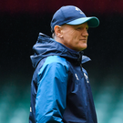 Head coach Joe Schmidt during the Ireland rugby captain's run at the Principality Stadium in Cardiff, Wales. Photo by Brendan Moran/Sportsfile