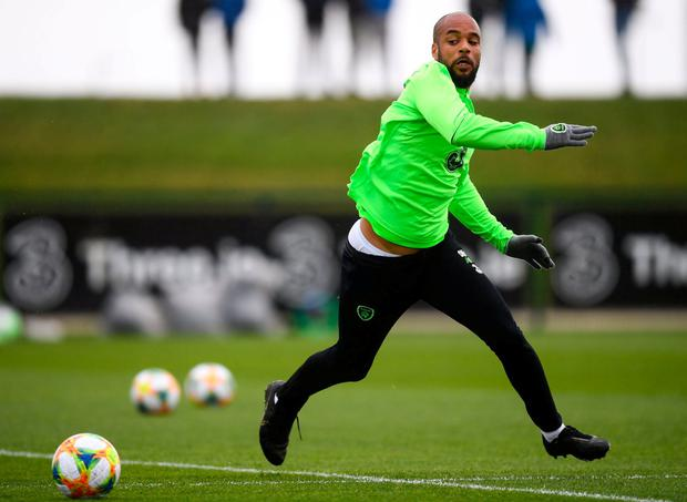 David McGoldrick during a Republic of Ireland training session at the FAI National Training Centre in Abbotstown, Dublin. Photo: Stephen McCarthy/Sportsfile