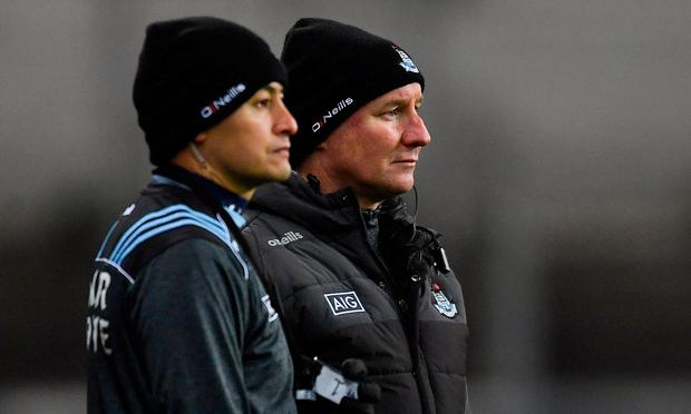 Dublin selector Jason Sherlock and manager Jim Gavin. Photo: Piaras Ó Mídheach/Sportsfile
