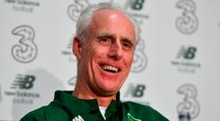 The green smile: Mick McCarthy was in relaxed mood on the day of his first training session with the Ireland team. Photo: Seb Daly/Sportsfile