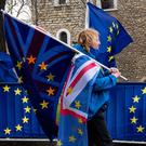 Seeing stars: A protester walks past the EU flags of anti-Brexit activists near the Houses of Parliament. Picture: AFP/Getty
