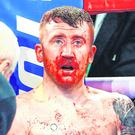 A bloodied and shell-shocked Paddy Barnes during his defeat to Oscar Mojica. Photo: Mikey Williams/Top Rank/Sportsfile