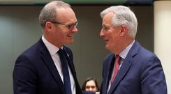 Simon Coveney and Michel Barnier REUTERS/Yves Herman