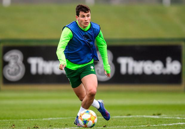 Josh Cullen declared for Ireland as an underage player, with Tom Mohan's U-17s. Photo: Stephen McCarthy/Sportsfile