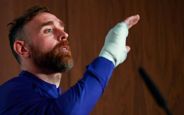 Richard Keogh is determined to play in the qualifiers despite his broken hand. Photo: Stephen McCarthy/Sportsfile