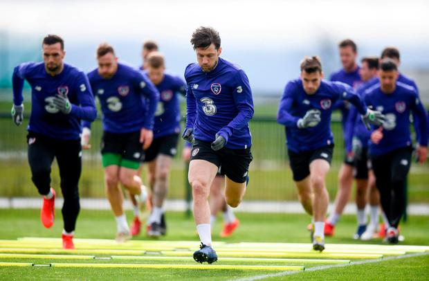 Harry Arter goes through his paces during Republic of Ireland training at the FAI National Training Centre in Abbotstown. Photo: Stephen McCarthy/Sportsfile